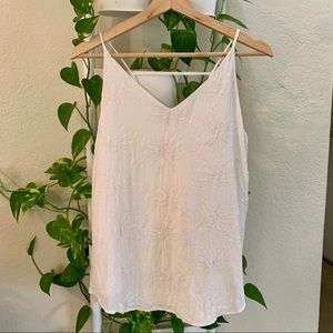 LOFT WHITE EMBROIDERED TANK TOP